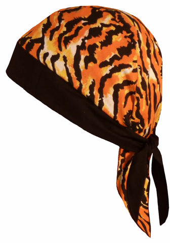 Tiger Stripes Tigers Animal Print Doo Rag Cap with Sweatband Biker Hat Bandana Head Wrap Black and Orange Made in America