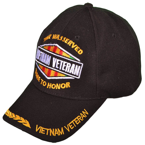Vietnam Veteran Baseball Cap Time Was Served Time to Honor Black Military Hat with Wreath