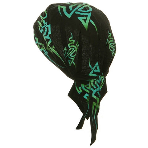 Tribal Doo Rag Head Wrap Black and Turquoise Green Durag Skull Cap Cotton Sporty Motorcycle Hat