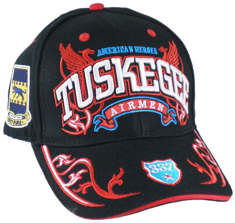 TUSKEGEE AIRMEN Baseball Cap Red Tails 332 Regalia Hat Air Force Black History
