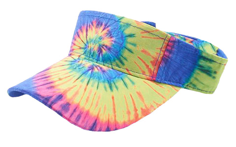 Tie Dye Golf Visor Rainbow Colors 1960s Sun Visors Hippie Hippy 60s Woodstock Tye Die