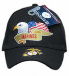 U.S. Marine Corps Hat, United States Marines Black Baseball Cap with Eagle Flag, Officially Licensed
