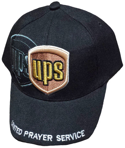 CLEARANCE Christian Baseball Cap, UPS, United Prayer Service, Black Religious Hat Adjustable Embroidered