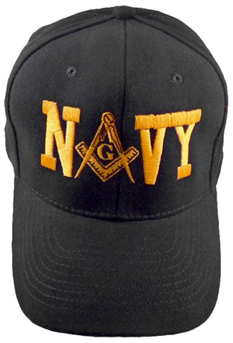 U.S. NAVY Black Masonic Baseball Cap Mason Logo Hat for Freemasons Shriners Prince Hall Masons Headwear