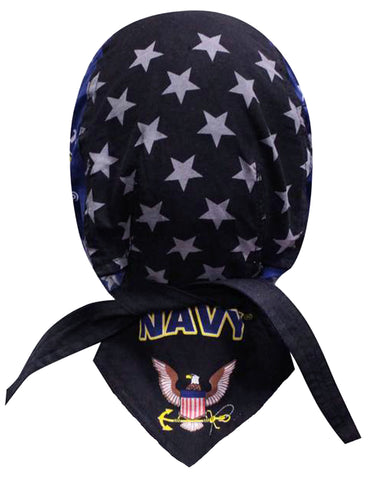 US NAVY Doo Rag with a SWEATBAND Blue Bandana Head Wrap Motorcycle Bikers Hat