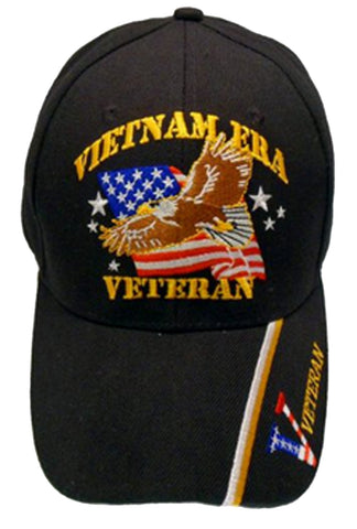 Vietnam ERA Veteran Baseball Cap Black Military Hat Vet with Eagle American Flag Bill