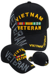 Vietnam Veteran BLACK Baseball Cap Military Vet Adjustable One Size Hat