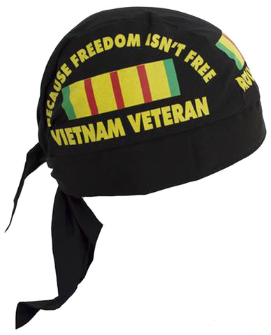 Vietnam Veteran Doo Rag Black Proudly Served Bandana Dorag w/ Sweatband MADE IN AMERICA