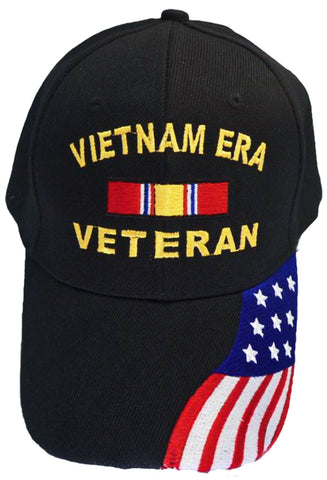 Vietnam ERA Veteran Baseball Cap Black Military Hat Vet with American Flag Bill