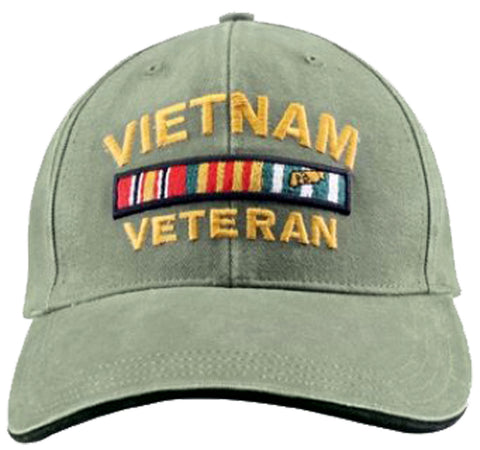 Vietnam Veteran Baseball Cap Olive Drab OD Green Military Hat with Wreath