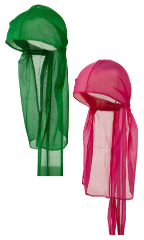 CLEARANCE Hot Pink and Kelly Green Wave Caps Sexy Tie Down Du-rag Cool Nylon Stocking Sleep Hat for Hair Waves