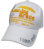 Christian Baseball Cap, Amazing Grace White Religious Hat Adjustable Embroidered