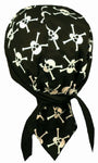 Pirate Skulls Crossbones Doo Rag Hat MADE IN AMERICA Bandana Head Wrap Black and White for Men or Women