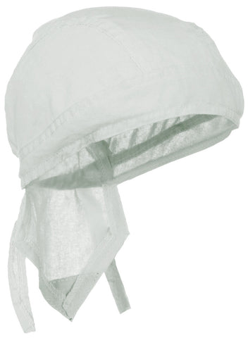 White Solid Doo Rag Blanco Headwrap Durag Skull Cap Cotton Sporty Motorcycle Hat