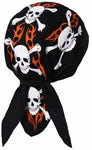 Skulls Crossbones Tribal Flames Flames Doo Rag Hat MADE IN AMERICA Bandana Head Wrap Black, White and Orange for Men or Women