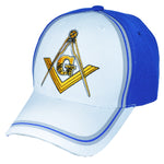 CLEARANCE White and Blue Mason Baseball Cap Masonic Emblem Hat for Freemasons Shriners Masons Headwear
