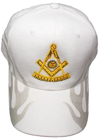 Mason Hat White PAST MASTER Baseball Cap with Masonic Logo and FLAMES on the bill Freemasons Shriners Prince Hall Lodge Headwear