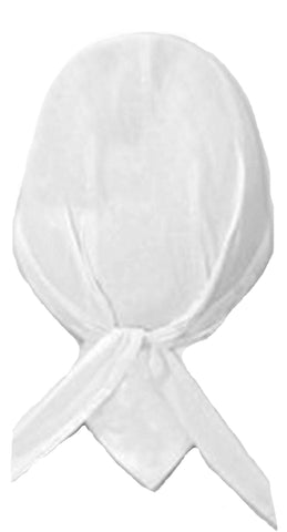 White Solid Headwrap Doo Rag with SWEAT BAND Durag Skull Cap Cotton Sporty Motorcycle Hat