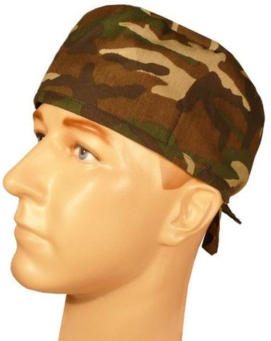 Surgical Scrub Cap Camouflage Woodland Camo with SWEATBAND MADE IN THE USA Doctors Surgeon Hat