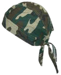 Camouflage Head Wrap DooRag with SWEAT BAND Camo Durag Skull Cap Cotton Sporty Motorcycle Hat