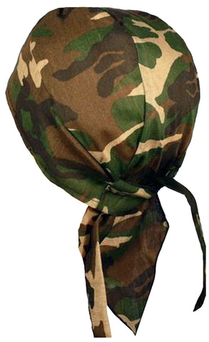 Camouflage Doo Rag | MADE IN AMERICA | Green Camo Bandana | Motorcycle Head Wrap | Cotton with Sweatband