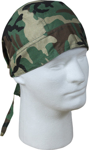 Camouflage Doo Rag | Green Camo Bandana | Motorcycle Head Wrap | Cotton Dorag