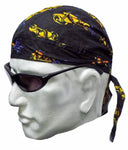 Black Chopper Headwrap Doo Rag Trucker Durag Skull Cap Cotton Sporty Motorcycle Hat