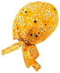 Yellow Head Wrap | Sunshine Paisley Doo Rag with Black and White | Motorcycle Skull Cap