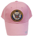 CLEARANCE US Navy Girls Hat Pink with Naval Logo Kids Baseball Cap Military Children