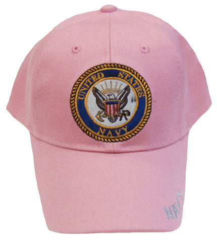 US Navy YOUTH Hat Pink with Naval Logo Kids Baseball Cap Military Children