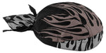 Reflective Flames Motorcycle Doo Rag Head Wrap Black and Silver Durag Skull Cap Cotton Sporty Motorcycle Hat