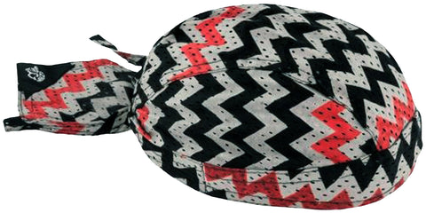Zig Zag Vented Doo Rag with SWEAT BAND Head Wrap Red Black Gray Durag Skull Cap Polyester Sporty Motorcycle Hat