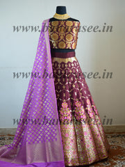Banarasee Handwoven Art Silk Unstitched Lehenga & Blouse Fabric With Meena Work-Maroon