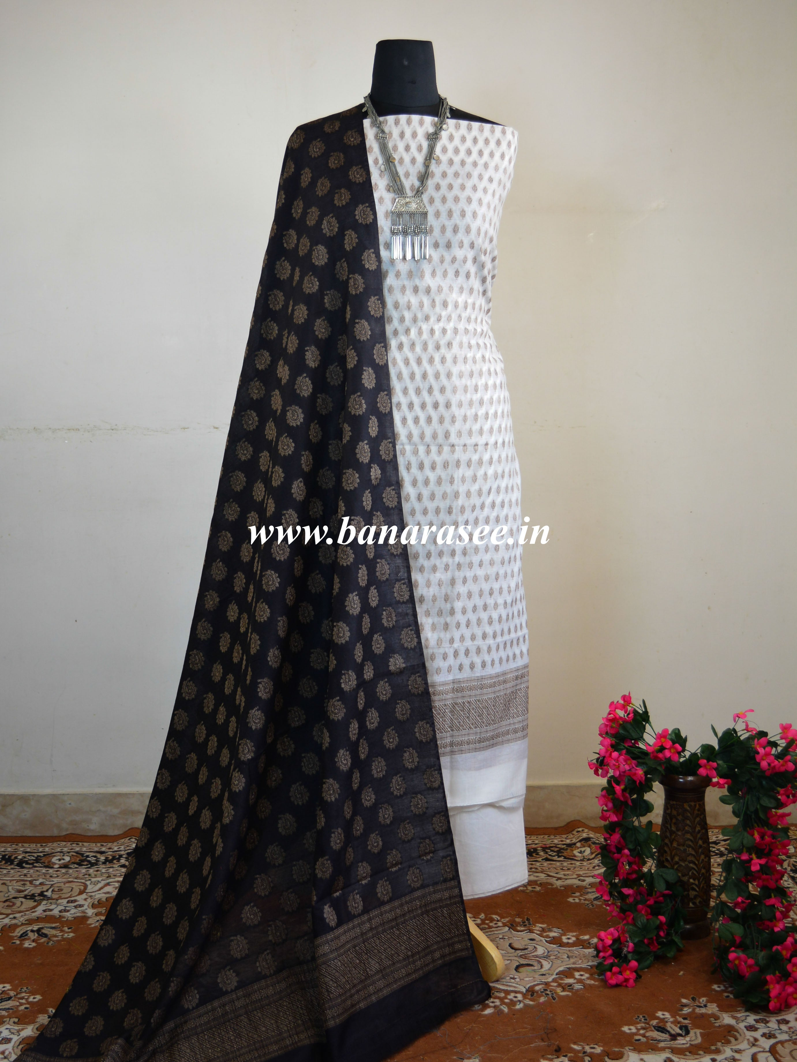 Banarasee Salwar Kameez Soft Cotton Resham Buti Fabric With Black Dupatta-White