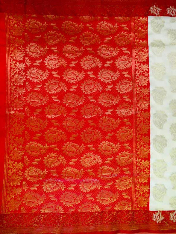 Banarasee/Banarasi Art Silk Sari -Off White And Red