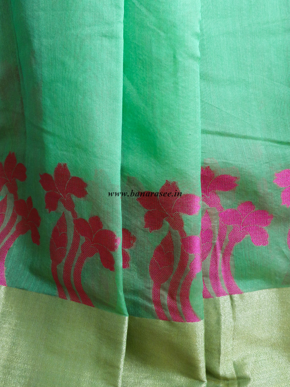 Banarasee Chanderi Cotton Broad Border Floral Buti- Green