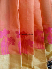 Banarasee Chanderi Cotton Broad Border Floral Buti- Orange