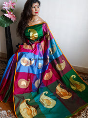 Banarasee/Banarasee Handloom Pure Katan Silk Sari With Paisleys