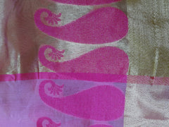 Banarasee Chanderi Cotton Saree Paisley Buti Design-Pink