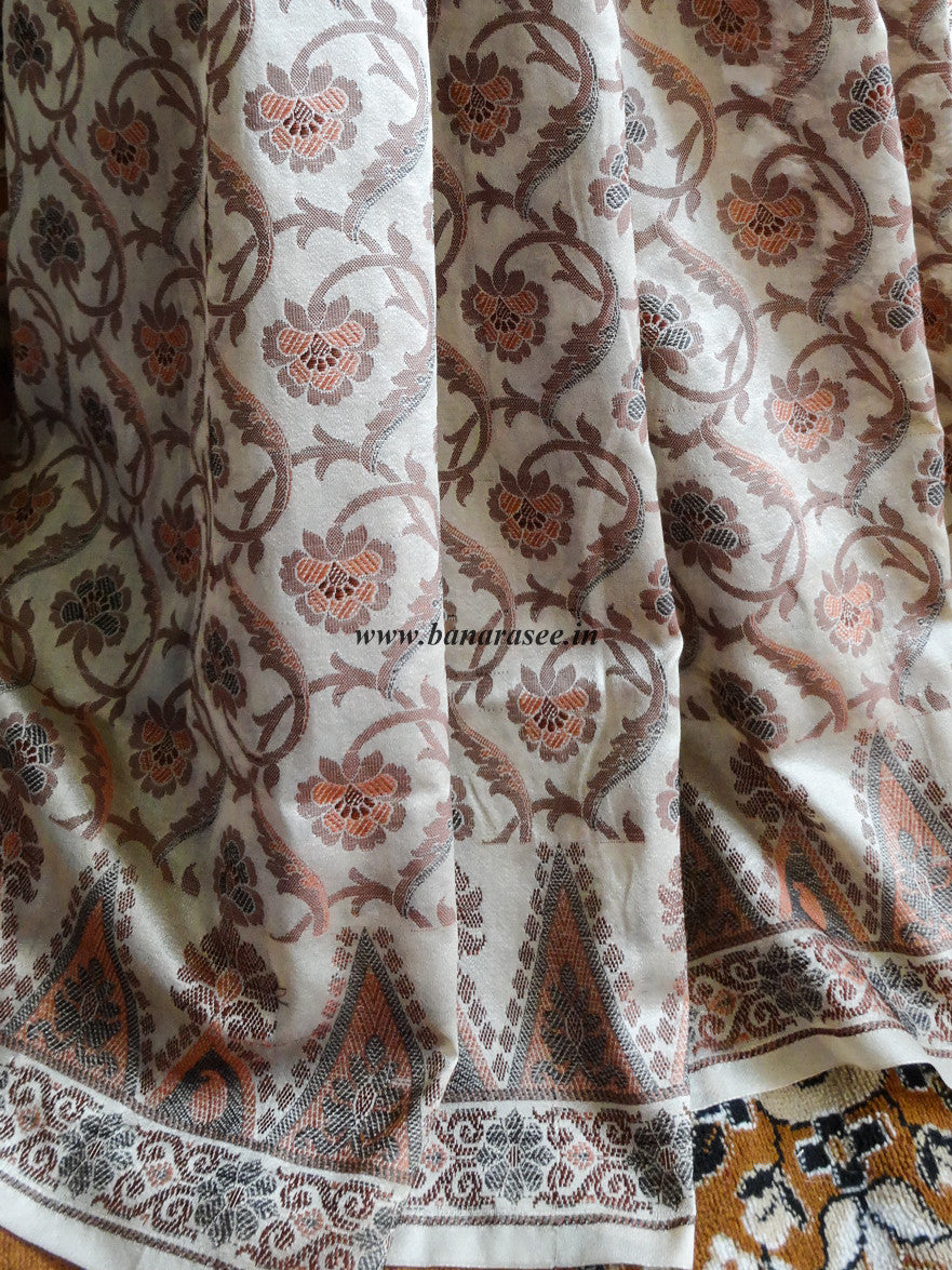 Banarasee/Banarasi Art Silk Saree With Floral Woven Design -Beige