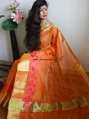 Banarasee Chanderi Cotton Broad Border Leaf Buti- Orange