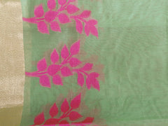 Banarasee Chanderi Cotton Broad Border Leaf Buti- Green