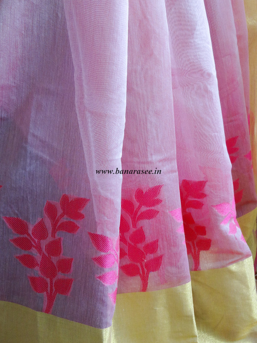 Banarasee Chanderi Cotton Broad Border Leaf Buti- Baby Pink