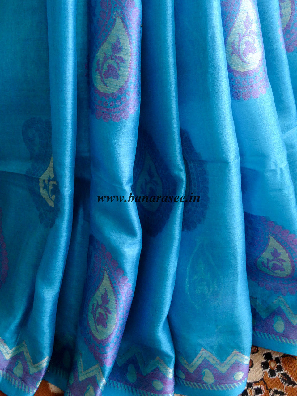Banarasee/Banarasi Handwoven Pure Tussar Silk Sari With Resham Work-Blue