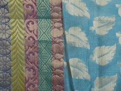 Banarasee/Banarasi Cotton Silk Mix Saree Leaf Motif Dhakai Weave-Sky Blue