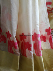 Banarasee Chanderi Cotton Broad Border Floral Buti-Off White