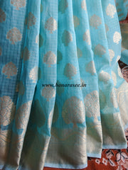 Banarasee/Banarasi Cotton Mix Saree Zari Buti Banyan Design Border-Sky Blue