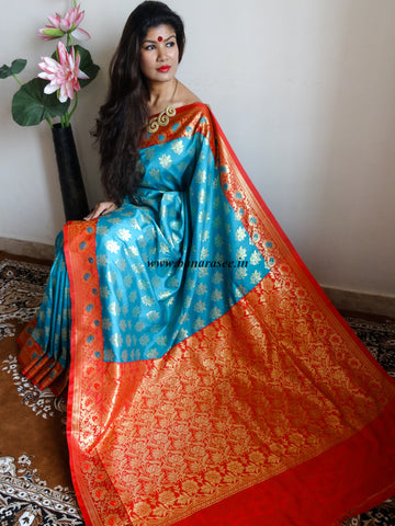 Banarasee/Banarasi Art Silk Sari -Teal Blue And Red