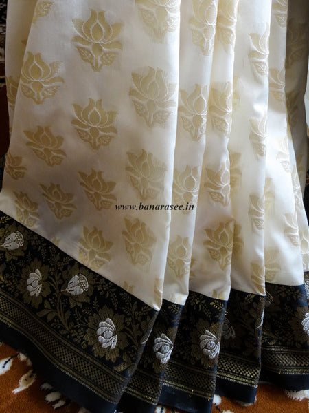 Banarasee/Banarasi Art Silk Sari -Black & White