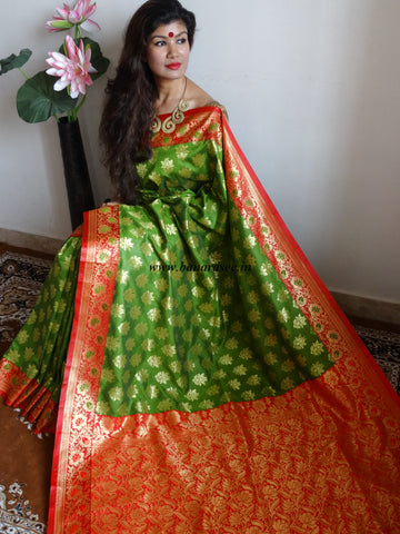 Banarasee/Banarasi Art Silk Sari -Green & Red